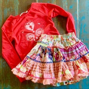 Oilily ruffled tiered skirt and top 104 6x cotton